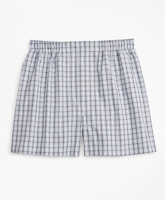 Traditional Fit Multi-Check Boxers Blue