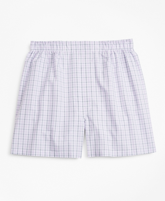 Traditional Fit Multi-Check Boxers Purple