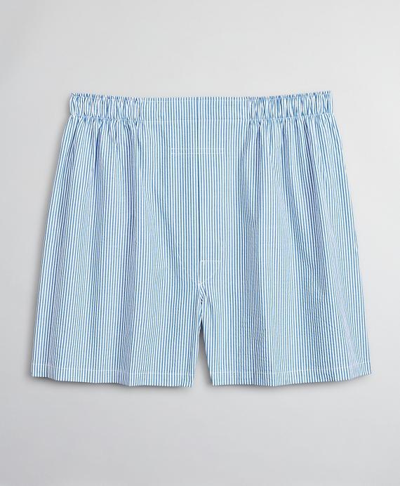 Traditional Fit Seersucker Stripe Boxers Blue