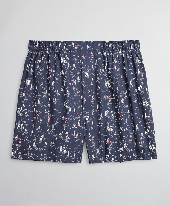 Traditional Fit Sailboat Boxers Navy