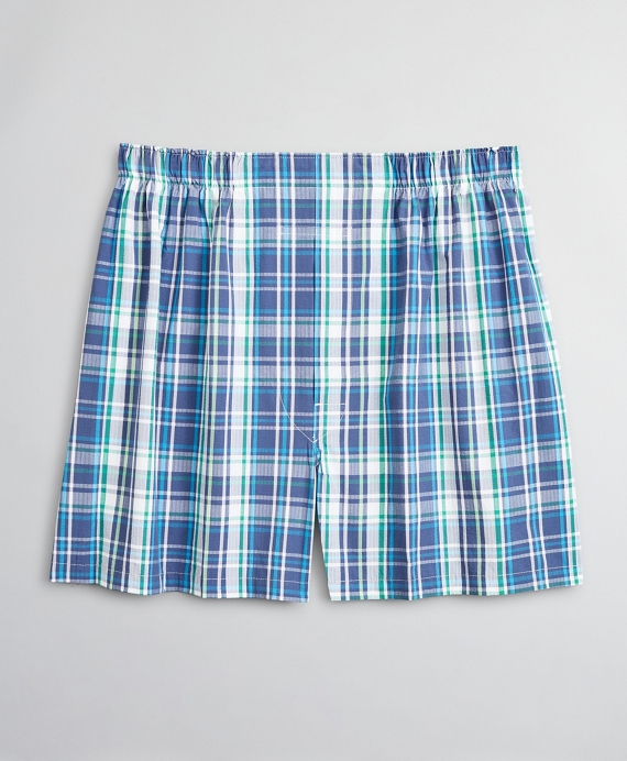 Traditional Fit Seersucker Large Plaid Boxers Green