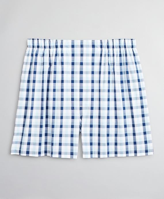 Traditional Fit Summer Plaid Boxers Blue