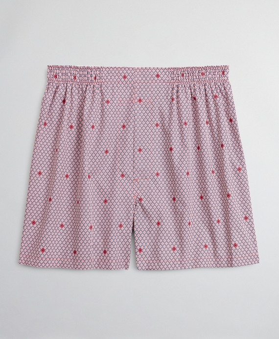 Traditional Fit Diamond Neat with Fleece Boxers Red
