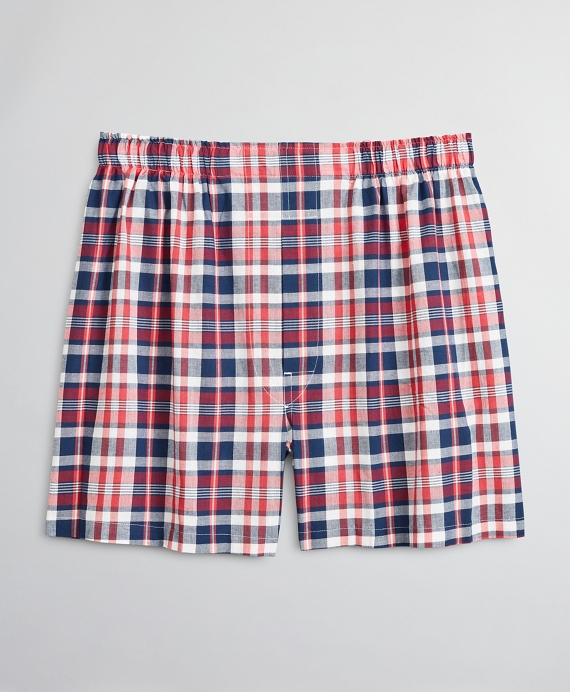 Traditional Fit Madras Boxers Red