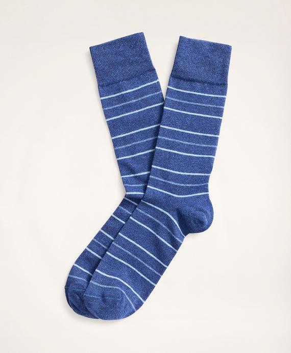 Alternating Stripe Yarn-Dyed Crew Socks Blue