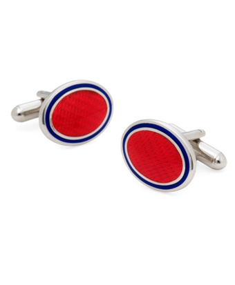 Sterling and Vitreous Enamel Oval Cuff Links