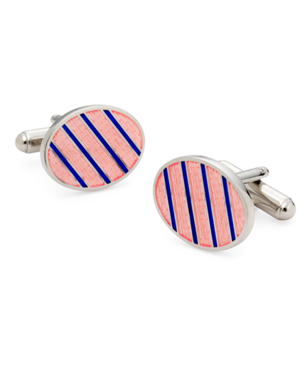 Sterling and Vitreous Enamel Stripe Cuff Links