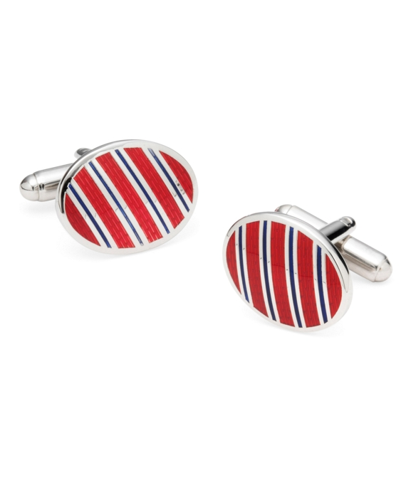Sterling and Vitreous Enamel Stripe Cuff Links Red