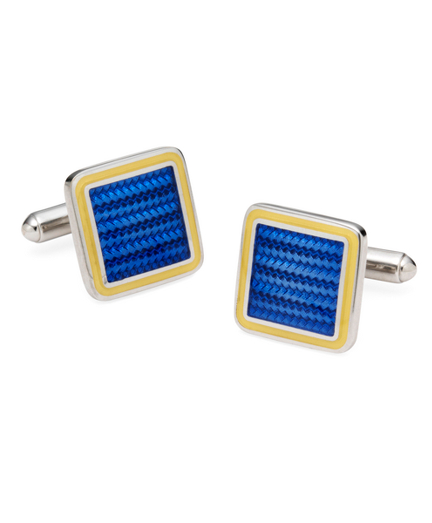 Sterling and Vitreous Enamel Square Cuff Links