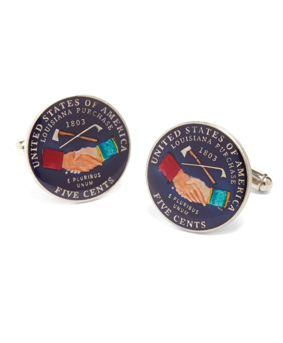 Enamel and Sterling Silver Nickle Coin Cuff Links Red Multi