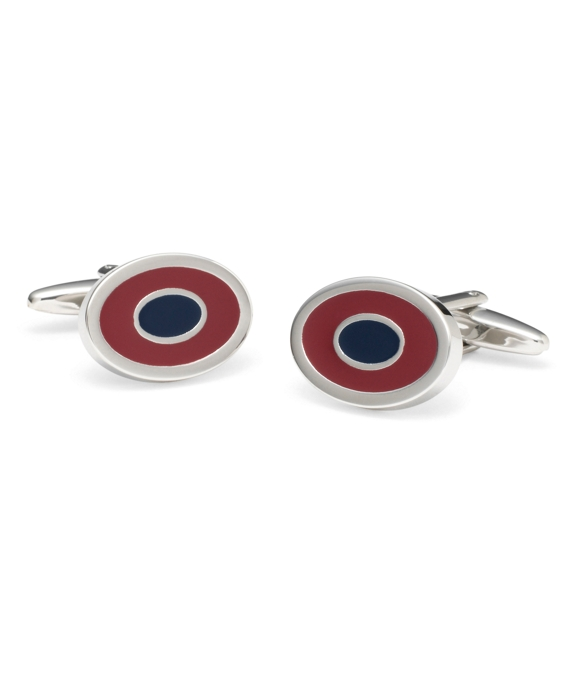 Two-Color Oval Cuff Links Burgundy-Navy