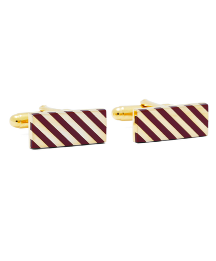 Burgundy and Gold Diagonal Stripe Rectangular Cuff Links
