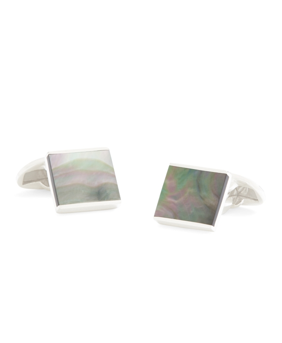 Smoked Mother-of-Pearl Square Cuff Links Grey
