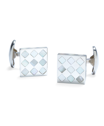 White Diamond Mother-of-Pearl Square Cuff Links