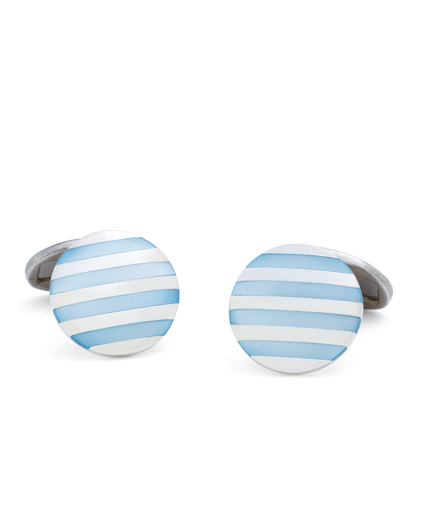 Blue Stripe Mother-of-Pearl Cuff Links