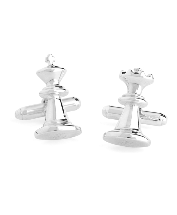 Sterling Silver Chess Piece Cuff Links Silver