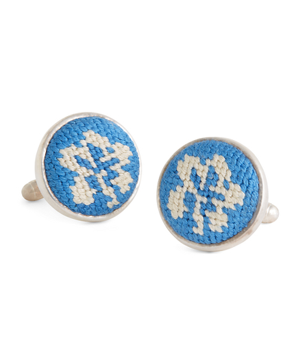 Hibiscus Needlepoint Cuff Links