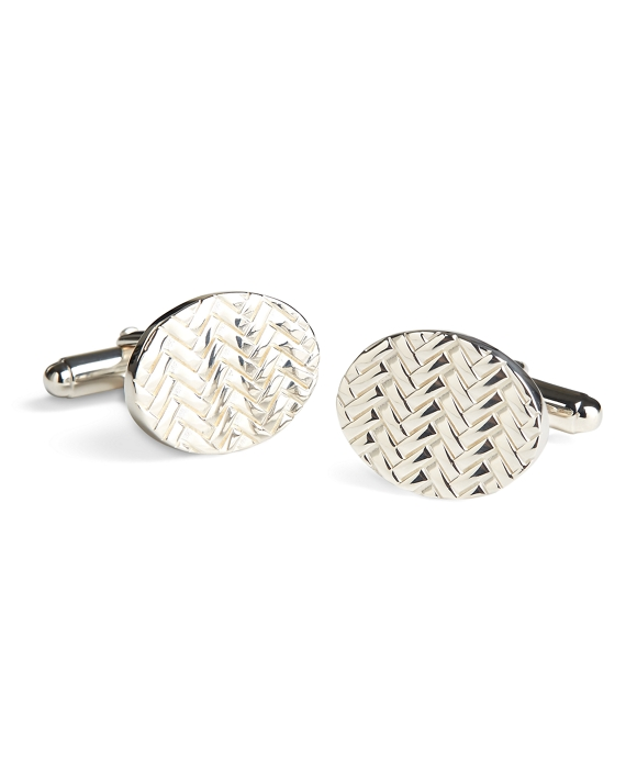 Herringbone Cuff Links Silver