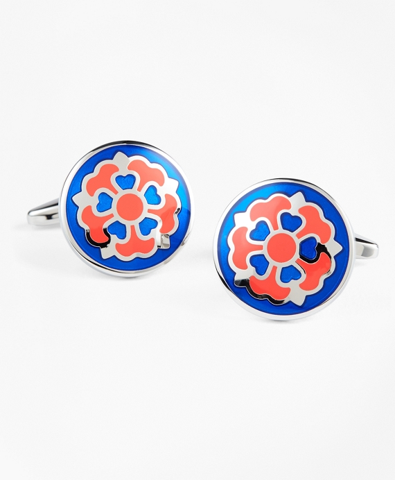 Fleuron Cuff Links Blue