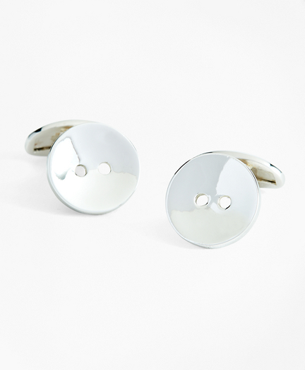 Sterling Silver Button Cuff Links