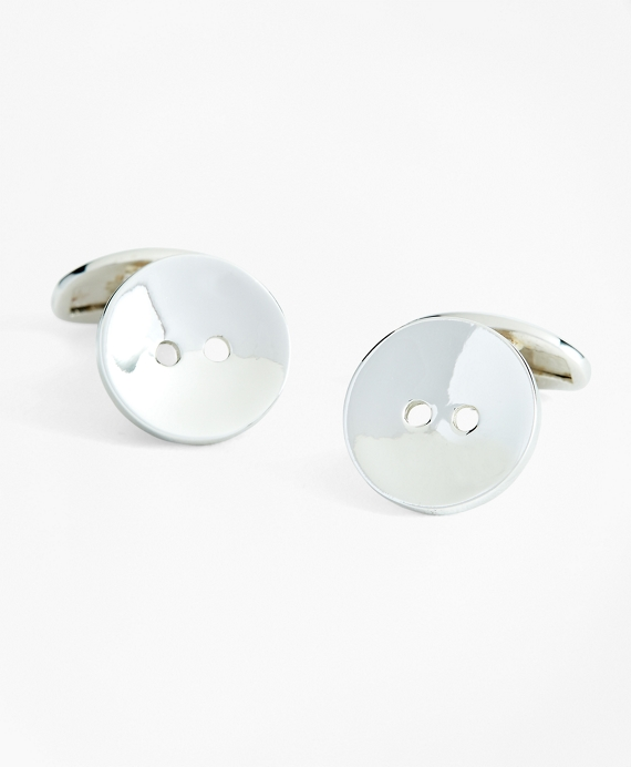Sterling Silver Button Cuff Links Silver