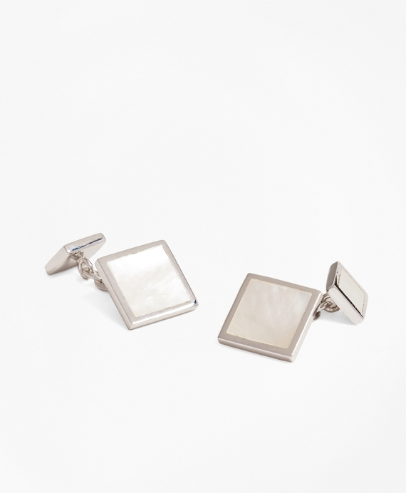 Square Mother-of-Pearl Cuff Links Silver