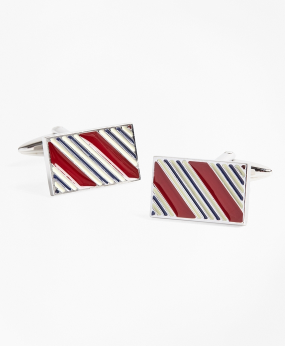 BB#1 Stripe Cuff Links Burgundy-Gold