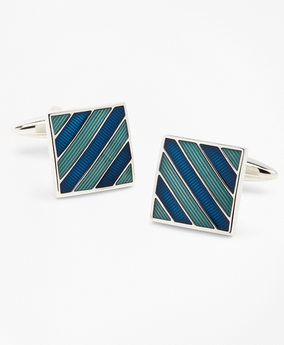 Stripe Enamel Cuff Links Blue-Green