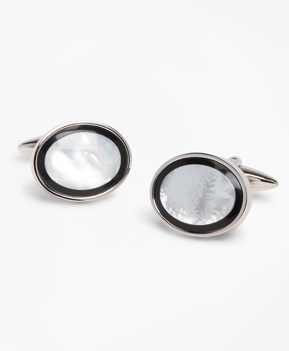 Mother-of-Pearl Cuff Links Black-White-Silver