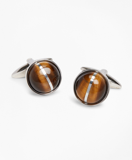Tiger's-Eye Round Cuff Links