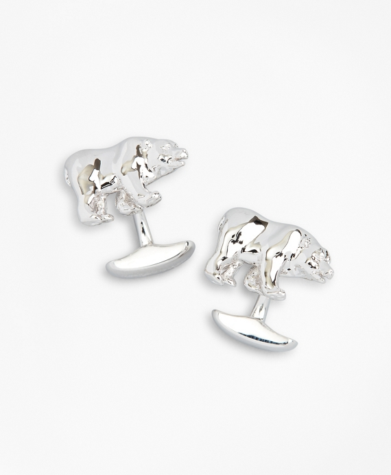 Bear Cuff Links Silver