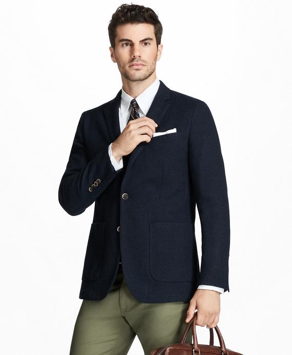 Milano Fit Two-Button Textured Blazer Navy