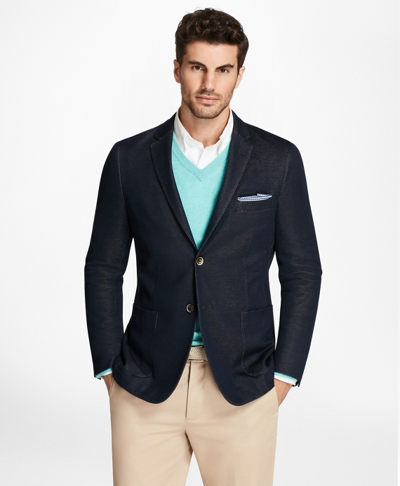 Milano Fit Knit Blazer Navy