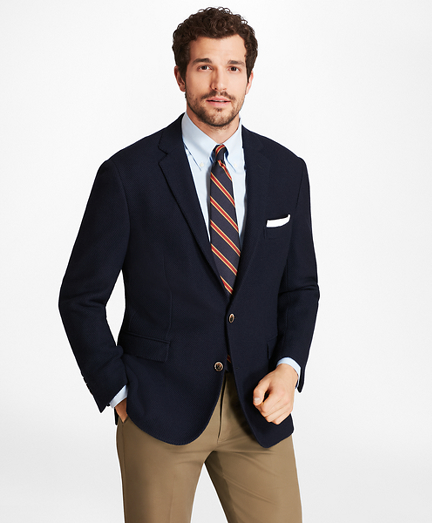 Regent Fit Textured Two-Button Blazer