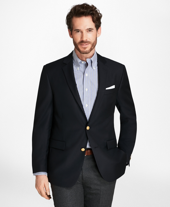 Country Club Regent Fit Saxxon™ Wool Two-Button Blazer Navy