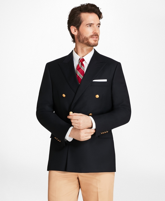 Country Club Regent Fit Saxxon™ Wool Double-Breasted Blazer Navy