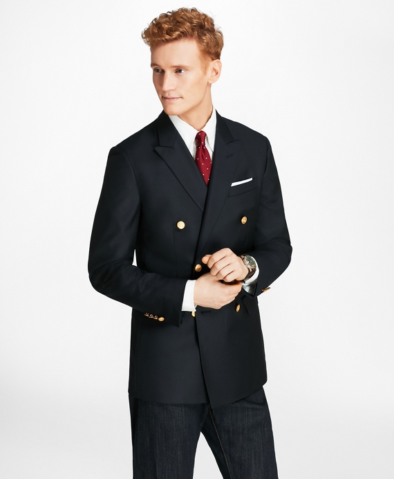 Country Club Milano Fit Saxxon™ Wool Double-Breasted Blazer Navy