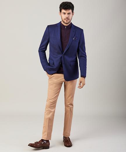 Regent Fit Two-Button Herringbone Blazer