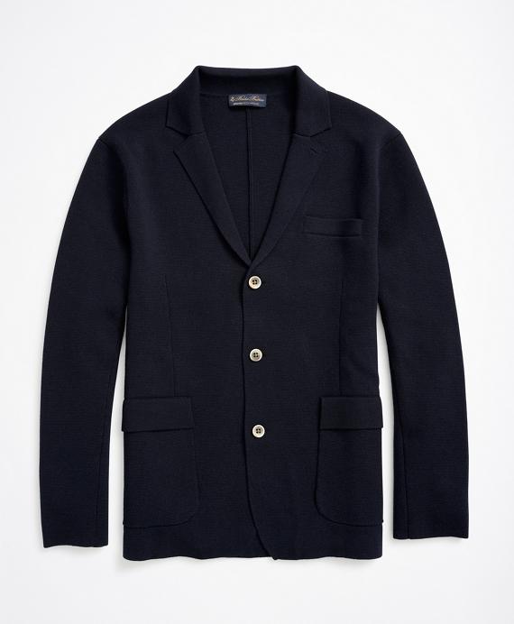 Merino Wool Knit Blazer Navy