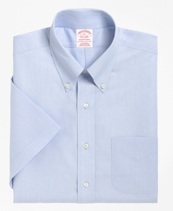 Traditional Relaxed-Fit Dress Shirt, Non-Iron Short-Sleeve Light Blue
