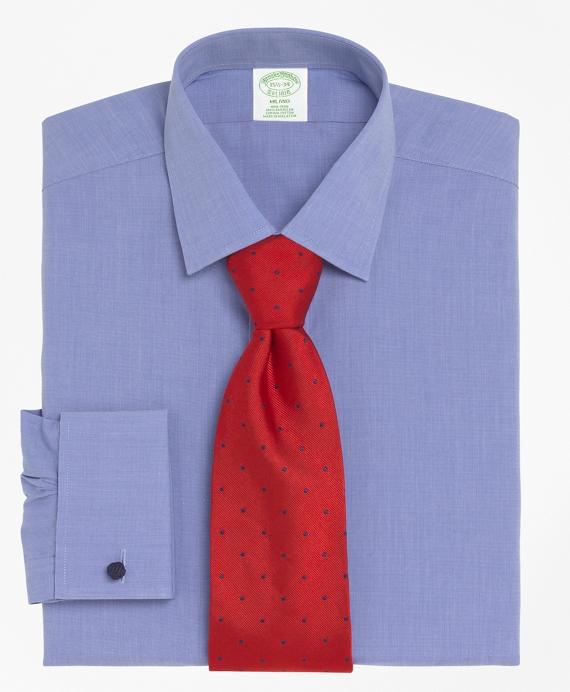 Milano Slim-Fit Dress Shirt, Non-Iron Spread Collar French Cuff Blue