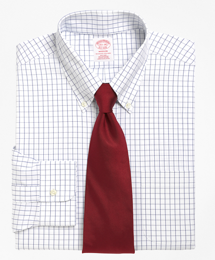 Madison Relaxed-Fit Dress Shirt, Non-Iron Windowpane