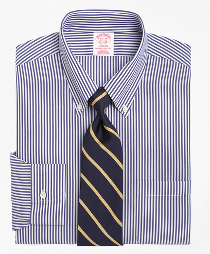 Madison Relaxed-Fit Dress Shirt, Non-Iron Bengal Stripe