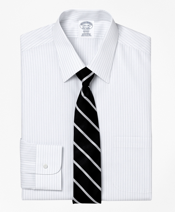 Non-Iron Regent Fit Thick and Thin Stripe Dress Shirt Grey