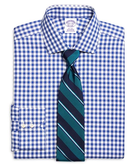 Non-Iron Madison Fit Gingham Dress Shirt Blue