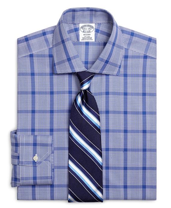 Non-Iron Regent Fit Large Glen Plaid Dress Shirt Blue