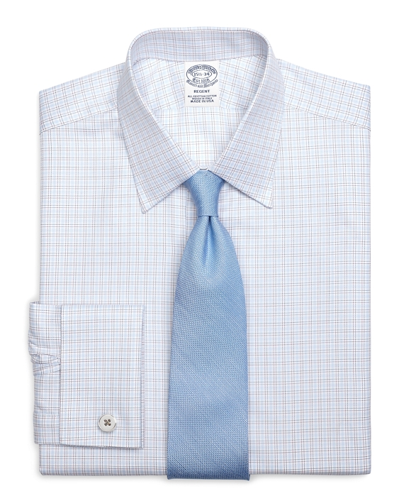 Regent Fit Twin Check French Cuff Dress Shirt Light Blue