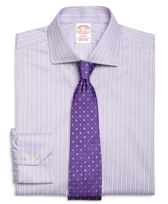 Madison Fit Alternating Split Stripe Dress Shirt Purple