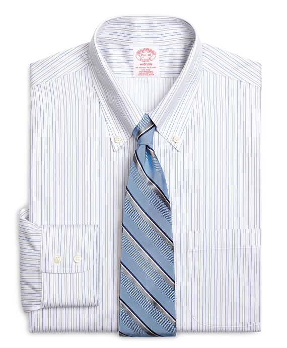 Non-Iron Madison Fit Alternating Shadow Stripe Dress Shirt Grey