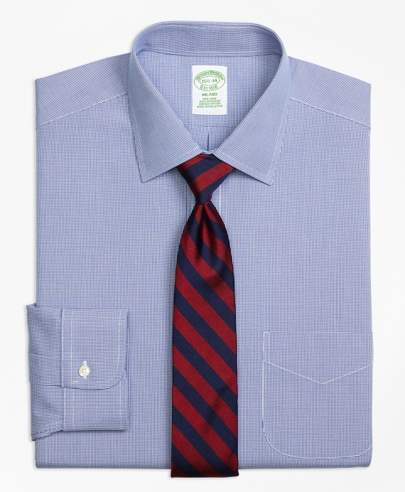 Milano Slim-Fit Dress Shirt, Non-Iron Houndstooth Blue